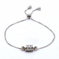 Rhodium Plated with Cubic Zirconia CZ Lariat Bracelets