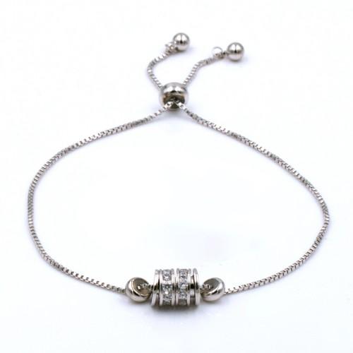 Rhodium Plated with Cubic Zirconia CZ Lariat Bracelets