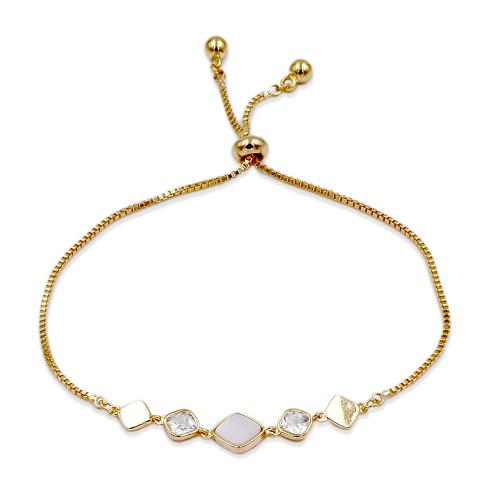 Gold Plated Lariat Bracelet With Mother Of Pearl
