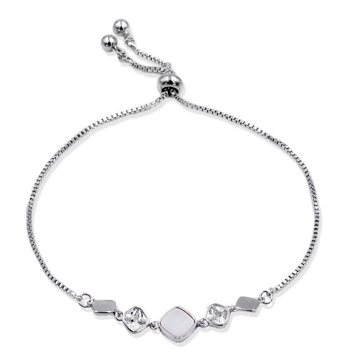 Rhodium Plated Lariat Bracelet With Mother Of Pearl