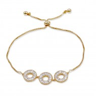 Gold Plated Lariat Bracelet With Cubic Zirconia