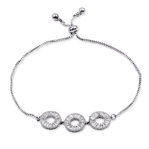 Rhodium Plated Lariat Bracelet With Cubic Zirconia