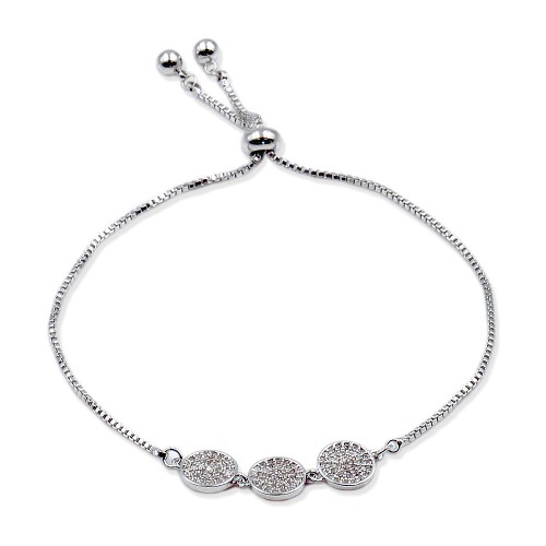 Rhodium Plated Lariat Bracelet With Cubic Zirconia