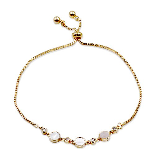 Gold Plated CZ Lariat Bracelet With  Mother Of Pearl