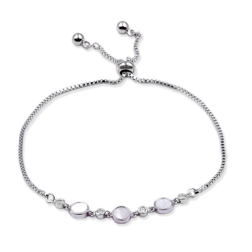 Rhodium Plated CZ Lariat Bracelet With Mother Of Pearl