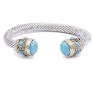 Two-Tone With Turqouise Color Stone 7MM Cable Cuff Bracelets