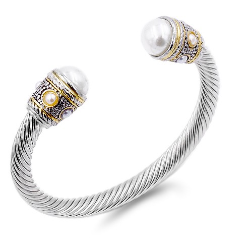 Two-Tone With White Pearl 7MM Cable Cuff Bracelets