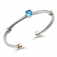 Two-Tone With Aqua Blue Stone 4MM Cable Cuff Bracelets