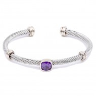 Two-Tone With Purple Color Stone 4MM Cable Cuff Bracelets