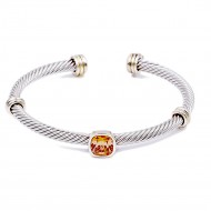 Two-Tone With Topaz Color Stone 4MM Cable Cuff Bracelets