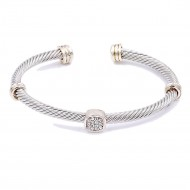 Two-Tone With Clear CZ Stone 4MM Cable Cuff Bracelets