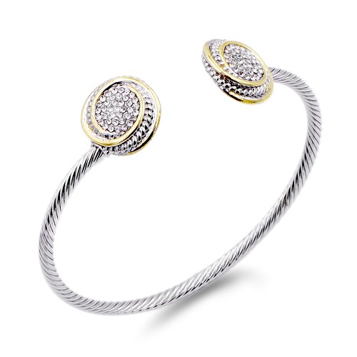 Two-Tone With Clear CZ Stone 3MM Cable Cuff Bracelets