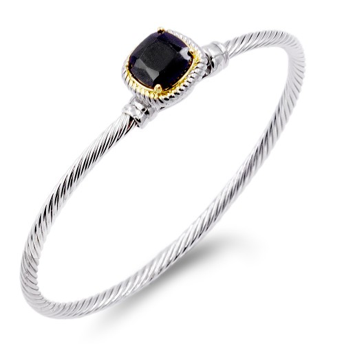 Two-Tone With Black Stone 3 MM Cable Cuff Bracelets