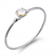 Two-Tone With Clear Stone 3MM Cable Cuff Bracelets