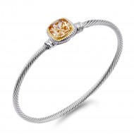 Two-Tone With Topaz Stone 3 MM Cable Cuff Bracelets