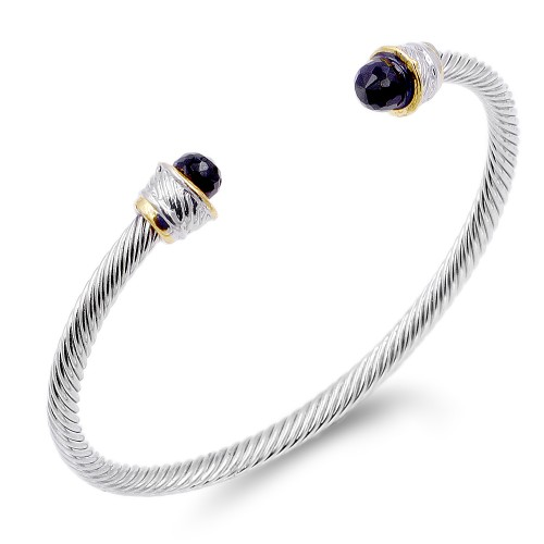 Two-Tone With Black Stone 4MM Cable Cuff Bracelets