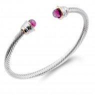 Two-Tone With Purple Stone 4MM Cable Cuff Bracelets