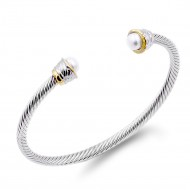 Two-Tone With Pearl 4MM Cable Cuff Bracelets