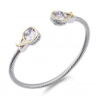 Two-Tone With Clear Stone 4MM Cable Cuff Bracelets