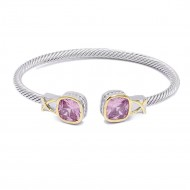 Two-Tone With Pink Stone 4MM Cable Cuff Bracelets