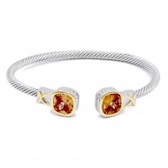 Two-Tone With Topaz Stone 4MM Cable Cuff Bracelets