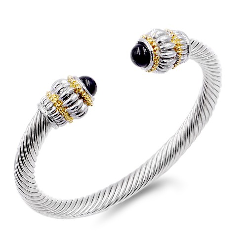 Two-Tone With Black Stone 7MM Cable Cuff Bracelets