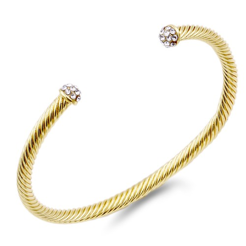Gold Plated 4MM CZ Stone Cable Cuff Bracelets