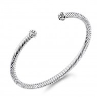 Rhodium Plated 4MM CZ Stone Cable Bracelets