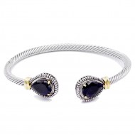 Two-Tone Plated With Black Stone 4MM Cable Cuff Bracelets