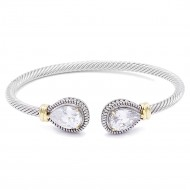 Two-Tone Plated 4MM Clear Stone Cable Cuff Bracelets