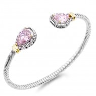Two-Tone Plated With Pink Stone 4MM Cable Cuff  Bracelets