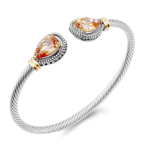 Two-Tone Plated With Topaz Stone 4MM Cable Cuff Bracelets