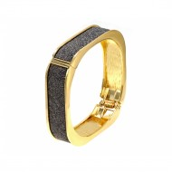 "Gold Plated With Black Glitter Square Shaped Hinged Bangles Bracelet Evening Party Bling Fashion Jewelry For Woman 7.5"" - 8"