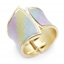Gold Plated With Multi-Color Glitter Hinged Bangle Bracelets