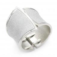 Rhodium Plated With Glitter Hinged Bangle Bracelets