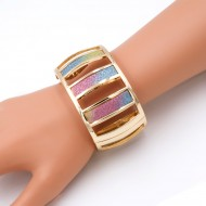 Gold  Plated with Multi Color Hinged Glitter Bracelets