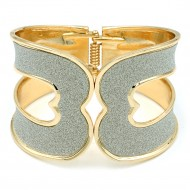 Gold Plated With Glitter Hinged Bangles