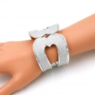 Rhodium Plated With Glitter Hinged Bangle