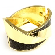 Gold Plated with Black Glitter Hinged Bangels