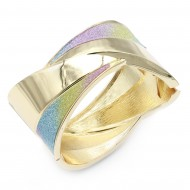 Gold Plated with Multi-Color Glitter Hinged Bangels