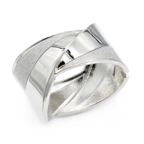 Rhodium Plated with Glitter Hinged Bangels