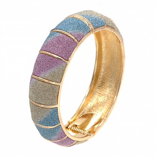 """Gold Plated with Multi-Color Glitter Hinged Bangles, Round Hinged Bangle Bracelet Evening Party Bling Fashion Jewelry For Woman 8"""""""