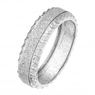 Rhodium Plated with Glitter Round Hinged Bangle Bracelet Fashion Jewelry For Woman 7.5""