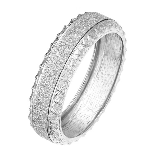 """Rhodium Plated with Glitter Round Hinged Bangle Bracelet Fashion Jewelry For Woman 7.5"""""""