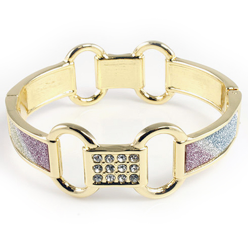 Gold Plated with Multi-Color Giltter Hinged Bangles