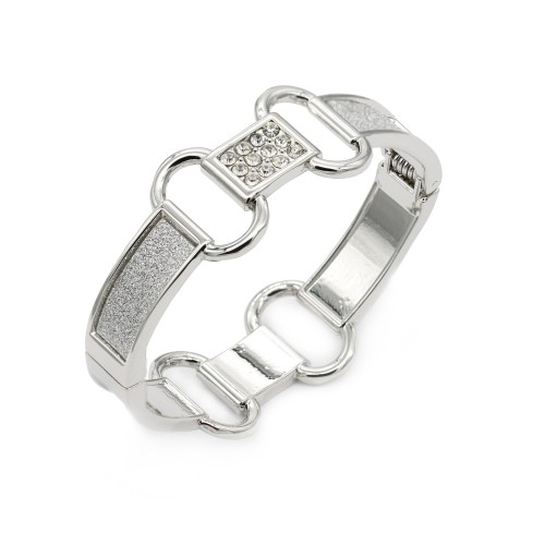 Rhodium Plated with Giltter Hinged Bangles