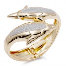Gold Plated Multi Gliter Dolphin Bangle
