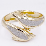 Gold Plated Gliter Dolphin Bangle
