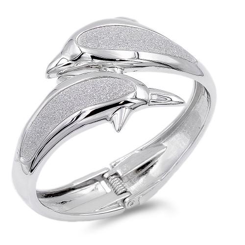 Rhodium Plated Gliter Dolphin Bangles