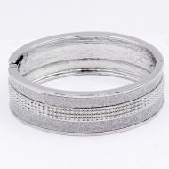 Rhodium Plated Glitter Hinged Bangle